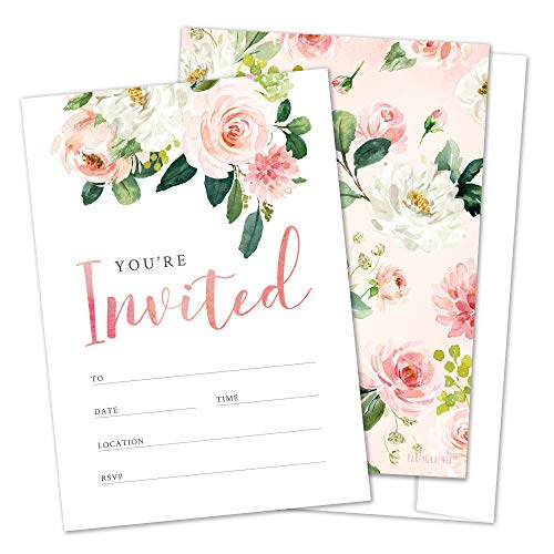Floral Fill-in Invitations with Envelopes, Perfect for Bridal Shower, Baby Shower, Wedding, Rehearsal Dinner, Birthday Party, Anniversary Party (25 Pack)