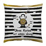 Sheepworld 45992 Baumwoll-Kissen Ohne Katze ist alles doof, 30 cm x 30 cm, Schwarz, Weiß,...