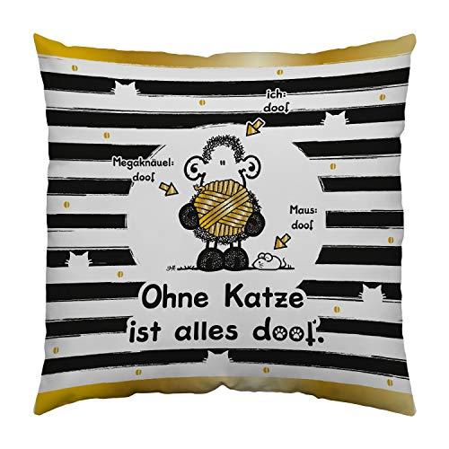 Sheepworld 45992 Baumwoll-Kissen Ohne Katze ist alles doof, 30 cm x 30 cm, Schwarz, Weiß, Goldfarben