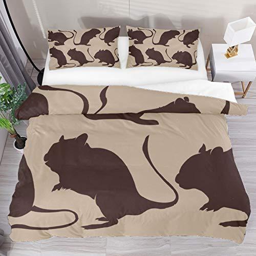 BOLIMAO Bettbezug-Set mit braunen Silhouetten von Rennmäusen und Nagetieren, volle Größe, 155,9 x 221 cm, atmungsaktiv, für Kinder, Mädchen, Jungen (keine Steppdecke)