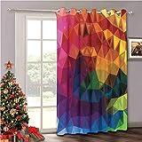 Cortina aislante térmico para oscurecimiento de habitación, decoración abstracta, moderna y geométrica, con forma de triángulo ondulado, diseño de arco iris, multicolor