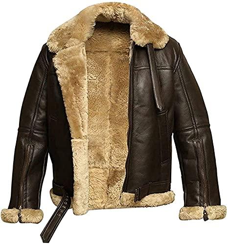 Chaqueta de cuero para hombre RAF Aviator   chaqueta de hombre   B3 piel de oveja piloto Flying Faux Fur   chaqueta bomber hombre cuero