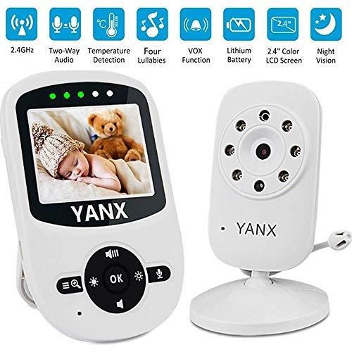 Babyphone mit Kamera,YANX Video-Babyphone, Video Baby Monitor Wireless 2,4 Zoll Farbdisplay, Eco-Mode, Gegensprechfunktion, Nachtlicht, Temperatursensor, Schlaflieder