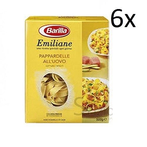 6x Barilla Emiliane pappardelle all'uovo n. 227 Nudeln mit ei 500g