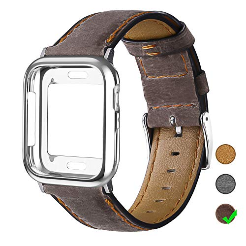 OULUOQI Leather Bands Compatible with Apple Watch 42mm 44mm with Soft Protective Case, Classic Business Genuine Leather Bands for iWatch Strap Series 5/4/3/2/1