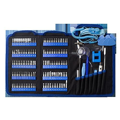 162 en 1 Destornillador de destornillador Equipo de reparación de teléfono móvil Kit de herramientas Mano Magnético Destornillador de cabeza cuadrada ( Color : Blauw , Number of Pieces : 162 IN 1 )