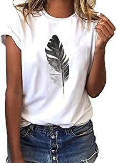AOJIAN Women's T Shirt Short Sleeve Shirts Feather Printed O Neck Tunic Blouse Tanks Vest Tops