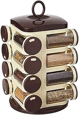 Home Stuff Joie Revolving Plastic Spice Rack 16 in 1 Jar   Multipurpose Uses Storage Set Condiment Masala Rack Set   16 Piece