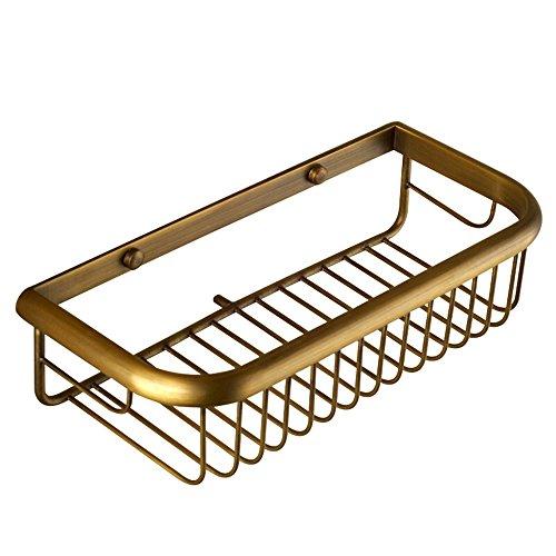Nokozan Estante de latón cuadrado para ducha de baño, estante organizador de pared, color bronce