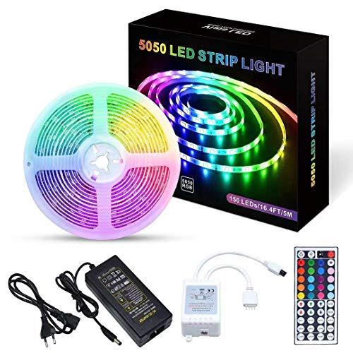 5M Tiras LED |150 leds 5050 RGB SMD Impermeable IP65 | Control Remoto de 44 Claves,Usado para Restaurante, Cocina, Porche,Fiesta,Kit Completo 12V [Clase de eficiencia energética A+++]