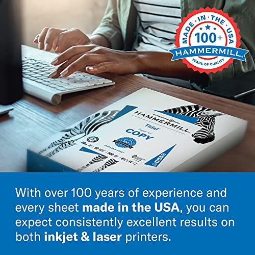 Hammermill Printer Paper, 20 lb Copy Paper, 8.5 x 11 - 5 Ream (2,500 Sheets) - 92 Bright, Made in the USA