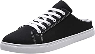 JJLIKER Men Classic Canvas Shoes Casual Low Top Lace Up Fashion Comfortable Walking Sneakers Black White