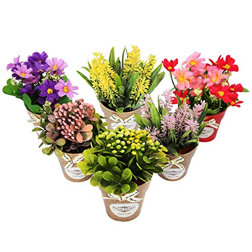 LUEUR Set of 6 Potted Artificial Flowers Fake Lavender Flowers in Pots Faux Flowers in Pot for Home Office Decoration Desktop Decor