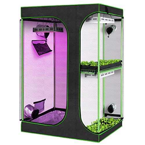 """KINGSO 2-in-1 Grow Tent 72"""" Plant Growing Tents Reflective Mylar Indoor Plants Hydroponics Growing System with Observation Window and Removable Floor Tray for Indoor Plant Growing (48"""