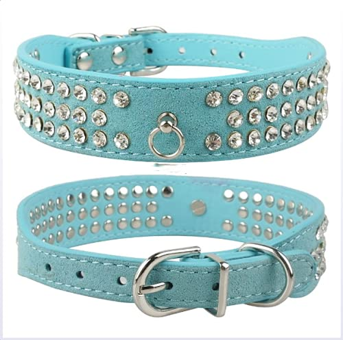 HFDDF Collar De Perro, para Pequeños Perros Medianos Chihuahua Yorkshire Rhinestone Collar De Perro 3 Filas De Gamuza Diate Diamante Cat Puppy Collar 4 Colores,Azul,20~26CM