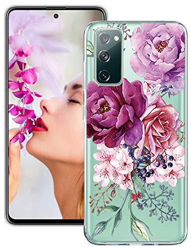 Croazhi Handyhülle Kompatibel mit Samsung Galaxy S20 FE 5G/4G Hülle Silikon Transparent Blumen Muster Motiv S20 Fan Edition Schutzhülle Dünn 360 Grad Stoßfest Hüllen für Galaxy S20 Lite Handy
