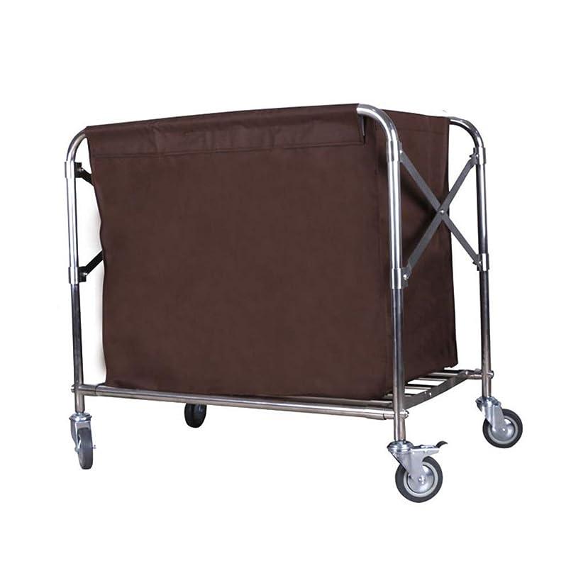 欠かせないボイラー矛盾普遍的な車輪が付いている折る商業洗濯の選別機の妨害車、取り外し可能な茶色袋が付いている家の移動式洗濯のバスケット (Size : S)