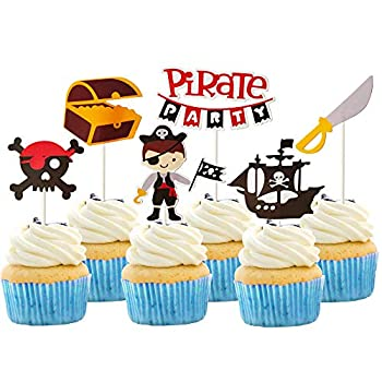 Sunsor 24Pcs Pirate Themed Cupcake Toppers Cake Treat Picks for Birthday Party Supplies