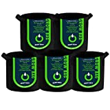 OPULENT SYSTEMS - Pack de 5 bolsas de cultivo de tela resistente para patatas/macetas con asas (negro)