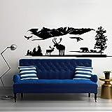 HNXDP África EstiloElk Wlid AnimalsWoodland Mural de pared Arte Hogar Sala de estar Fondo Decir Mural de pared Rústico Countrty MualY07 46x132cm