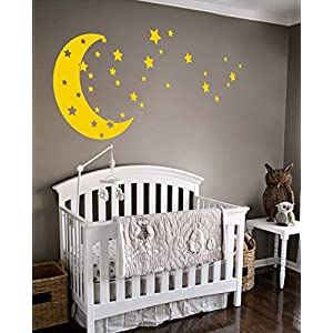 Moon and Stars Night Sky Vinyl Wall Art Decal Sticker Design for Nursery Room DIY Mural Decoration (Light Yellow, 30×65 inches)