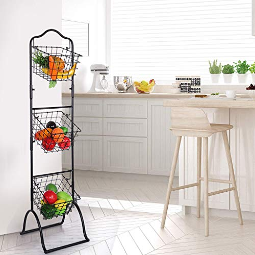 Little Story Removable Cabinet Wall Mount Metal Wire Basket Organizer Pantry Basket with Handles Set of 3, Food Storage Mesh Bin for Kitchen Bathroom Laundry Closet Garage