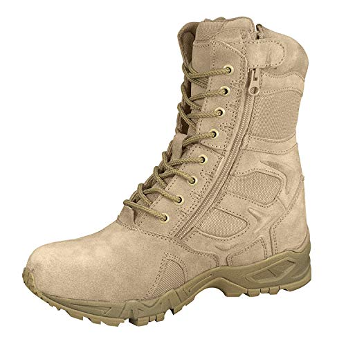 """Rothco Forced Entry 8"""" Deployment Boots with Side Zipper, Tan, 10 Wide"""