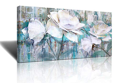 Large Wall Art for Living Room Gray Green Abstract Painting watercolor paintings for walls painting Abstract White roses flower floribunda Framed Canvas Prints Wall Art Decor Home Bathroom Office Deco