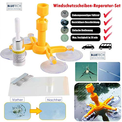 BLUETECH®Auto Windschutzscheiben Reparaturset Steinschlag Scheibenreparatur Werkzeug Glas Reparatur Set Windshield Repair Kit Handy Windscreen Repair Resin für PKW Chip und Crack, Glass