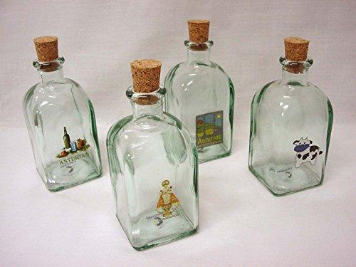 Botella Licor CHUPITO Cuadrada 250 ML Transparente Souvenir Asturias (EL Precio ES para 1 Unidad. Enviar Mensaje ESPECIFICANDO CUAL Desea Escoger, SI Nos ES Posible)