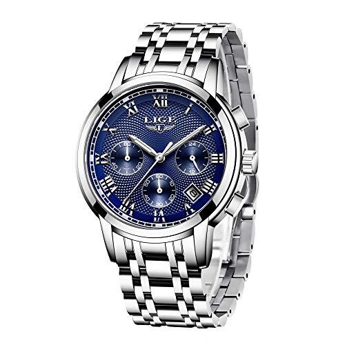 Herren Uhren Geschäft Edelstahl Wasserdicht Analog Quarzuhr Herren Chronograph Kalender Datum Kleid Armbanduhr