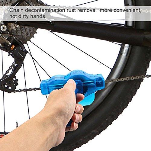 Fahrrad Kettenreinigungsgerät, Furado Kettenreiniger, Reinigung Scrubber Pinsel-Werkzeug im Set mit Ritzelbürste, Schnelles sauberes Werkzeug für Alle Arten von Fahrrad Kettenreinigung (blau) - 5