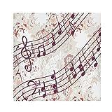 TropicalLife HaJie Tovaglioli di carta con motivo floreale e note musicali, tovagliolo di carta satinata, in poliestere, riutilizzabili, per tavolo e bambini, 50,8 x 50,8 cm, 4 pezzi