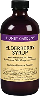 Honey Gardens Elderberry Syrup with Apitherapy Raw Honey, Propolis & Elderberries | Traditional Immune Formula w/Echinacea...