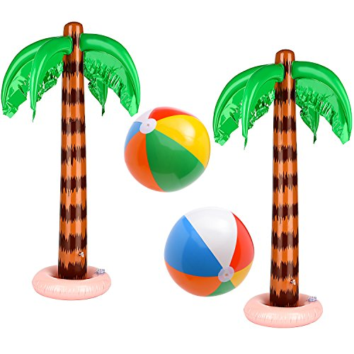 Gejoy Set of 4 Inflatable Palm Trees and Beach Inflatable Beach Balls Rainbow Color Balls for Hawaiian Pool Luau Party Decoration (Style 1)