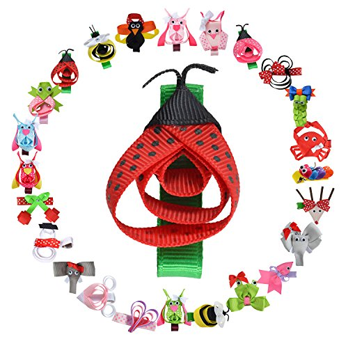 Product Image of the Cute Animal Baby Hair Clips for Ponytail Fabric Bows for Kids Little Girls...