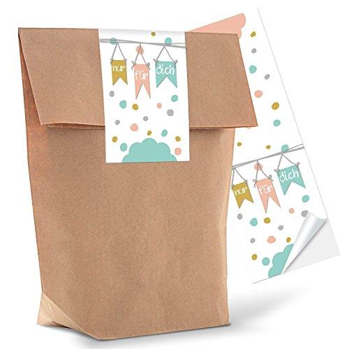 25 kleine braune Geschenktüten Papier-Tüten mit Aufkleber Sticker NUR FÜR DICH in Pastell-Farben 14 x 22 x 5,6 cm Kindertüten Geburtstagstüten Verpackung Gastgeschenk rosa Mitgebsel natur Beutel