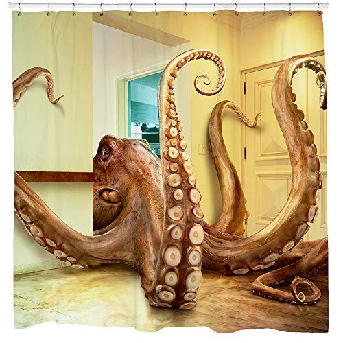 SHARP Shirter Awesome Octopus Duschvorhang-Set, Cool Kraken, Badezimmer-Dekoration, Beige Stoff, 71 x 74 Haken im Lieferumfang enthalten