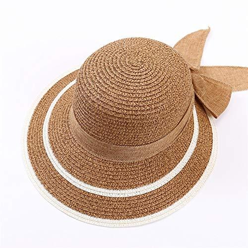 QQSA Gorra for el Sol del Verano Nueva versión Coreana de la Lengua de Pato Sombreros Mujeres viajan el Protector Solar Casquillo de la sombrilla de Paja del Bowknot Caps H013