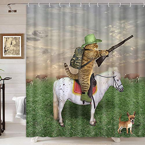 Funny Animals Shower Curtain, Cat Cowboy with Rifle Rides A Horse on Green Grass Ranch with Cow Dog Shower Curtain for Bathroom, Fabric Kids Bathroom Set 12PCS Hooks, 69X70IN