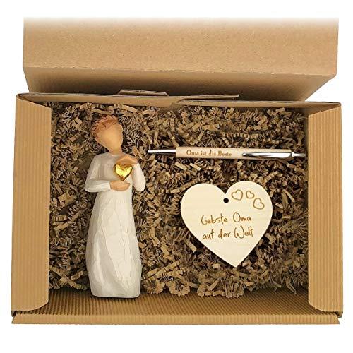 Geschenkset 2-teilig \'Besondere Oma\' / Willow Tree Figur/Windlicht/Oma/Muttertag/Geburtstag