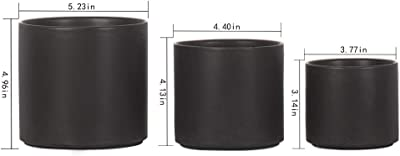 SQOWL Modern Ceramic Planters Round Flower Plant Pots Small to Medium Sized with Drain Hole Indoor Outdoor Set of 3,Black