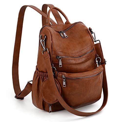 UTO Women 3 in 1 Backpack Handbag Ladies Convertible Rucksack Shoulder Bag with Detachable Waist Pack Coin Purse Vegan Leather Brown
