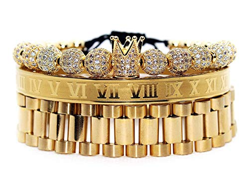 KOKOSHELL Royal Crown Jewels 3PCS Set - Gold/Silver Bracelets (B Gold)