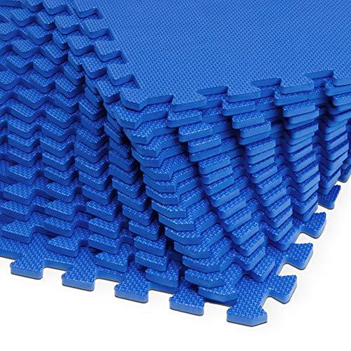 Deuba Alfombra Puzzle de Fitness de 3,24m² 16 Piezas de Espuma EVA protección para Suelo máquinas 180 x 180 x 1cm Azul