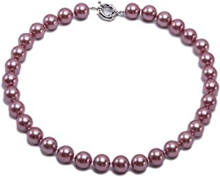 JYX Pearl 10mm Wine Red South Sea Shell Pearl Necklace Round Beads Jewelry 18''