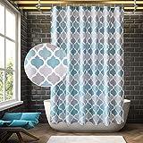 ARICHOMY Cortina de ducha geométrica de baño cortina de baño impermeable con 12 ganchos para bañera, ecológica, sin olor a prueba de óxido, 182 x 183 cm (azul)