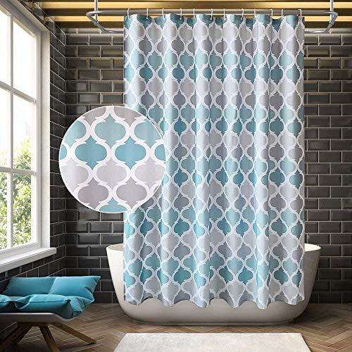 Arichomy - Cortina de ducha con 12 ganchos para bañera, ecológica, sin olor, arandelas a prueba de óxido, 72 x 72 pulgadas, color azul