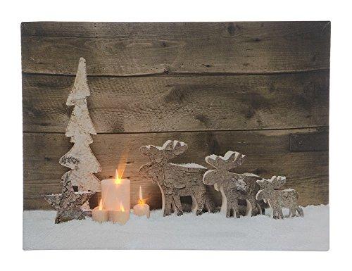 LED Bild Elche Weihnachten Rentier Hirsch Wandbild Leinwand 30x40cm