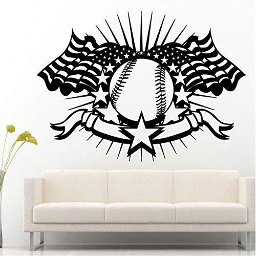 MUXIAND Muursticker, Vlag sport honkbal DIY Office Regels Decor Woonmuur voor Kinderen Kamer PVC Art Custom Mural Waterdichte Afneembare Geschenk Verjaardag 78x57cm